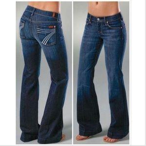 7 For All Mankind Dojo Flare Wide Leg Jeans 28
